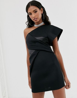 Asos Design DESIGN one shoulder mini dress with zip tuck detail-Black