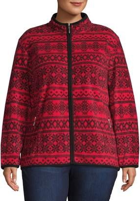 Karen Scott Plus Fair Isle Zip-Front Jacket