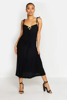 boohoo Cheesecloth Tiered Midi Skater Dress