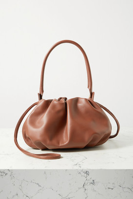 Gu de - Bonnie Reversible Gathered Leather And Velvet Tote - Tan