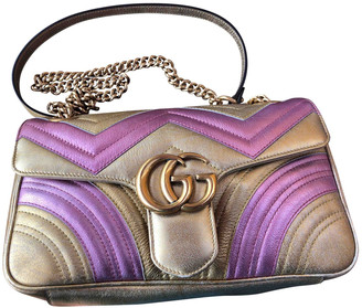 Gucci Marmont Gold Leather Handbags
