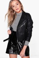 boohoo Lena Boutique Belted Vegan Leather Biker Jacket black