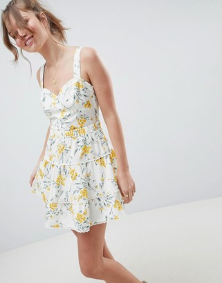 Asos Design DESIGN tiered mini skirt in floral print two-piece