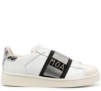 Moa Master Of Arts Rhinestone Embellished-Strap Leather Sneakers
