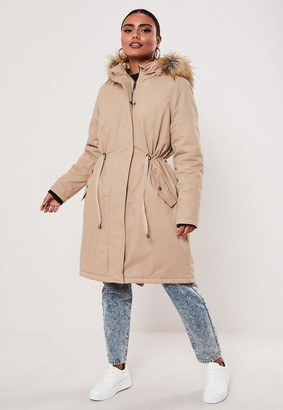 Missguided Stone Cotton Twill Parka Jacket