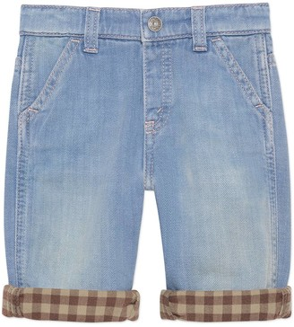 Gucci Baby denim pant with check lining