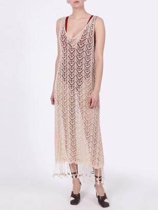 Pompom-hem Crochet Dress