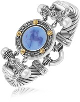 Ice 18K Yellow Gold and Sterling Silver Bluino Cameo Embellished Coin Motif Bracelet