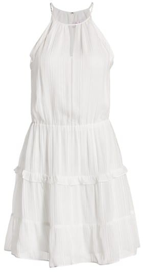 Parker Bruna Lace Eyelet-Trim Halter Mini A-Line Dress