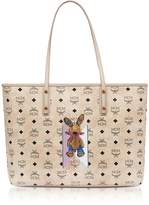 MCM Visetos Studded Rabbit Beige Top Zip Medium Tote Bag