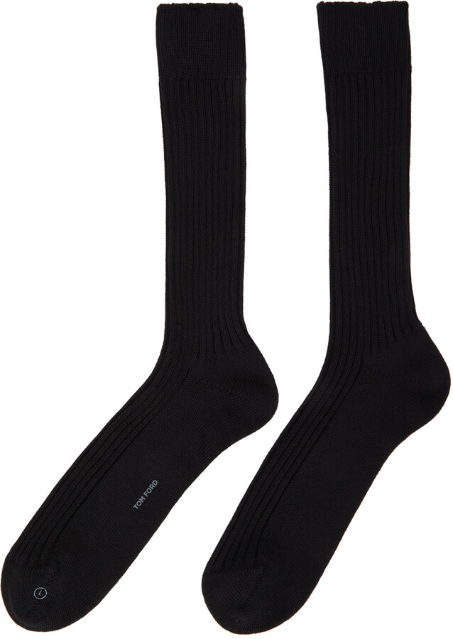 Thumbnail for your product : Tom Ford Black Cotton Ribbed Short Socks