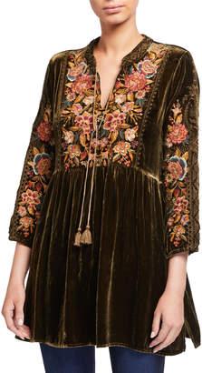 Johnny Was Zaret Embroidered Velvet Tunic w/ Mandarin Collar