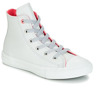 Converse CHUCK TAYLOR ALL STAR FASHION LEATHER HI PURE PLATNUM/WOLF GREY/ girls's Shoes (High-top Trainers) in Grey