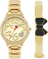 Betsey Johnson Women's Gold-Tone Bracelet Watch & Bangle Bracelet Set 36mm BJ00607-02
