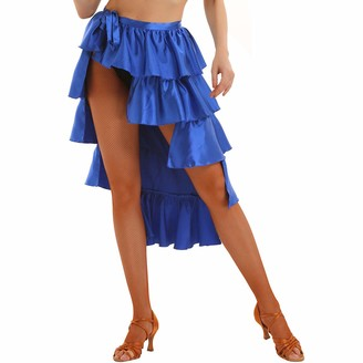CHICTRY Womens Stain Ruffles High-Low Multilayer Self-tie Up Latin Dance Skirt Royal_Blue Medium