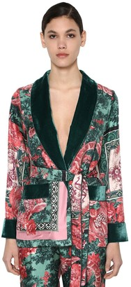 F.R.S For Restless Sleepers Silk Twill & Velvet Robe Jacket