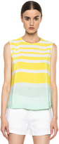 Equipment Reagan Venice Striped Printed Top in Blazing Yellow & Ice Green
