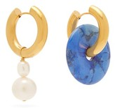 Lapis Timeless Pearly - Mismatched & Pearl Hoop Earrings - Womens - Blue Gold
