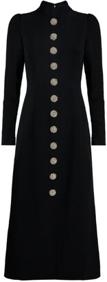 Andrew Gn Crystal Button Midi Dress