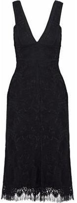 Victoria Beckham Poplin-trimmed Wool-blend Corded Lace Dress