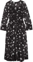 Carven Printed Tiered Voile Midi Dress - Black