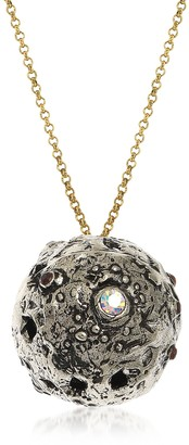Alcozer & J Silvered Brass Moon Necklace with Swarovski and Garnet.
