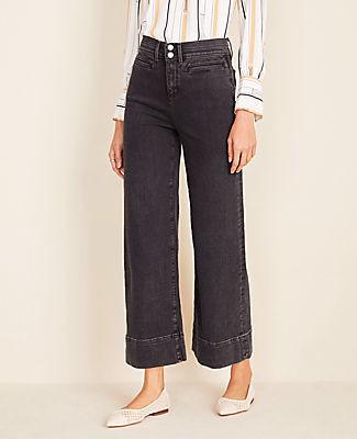 Ann Taylor Wide Leg Crop Jeans in Washed Black