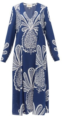 La DoubleJ V Trapezio Pineapple-print Georgette Midi Dress - Blue Print