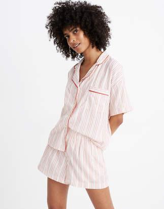 Madewell Oversized Pajama Shorts in Shimmer Stripe