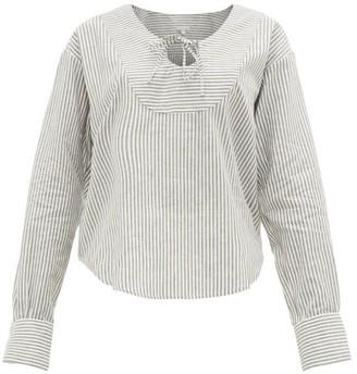 Belize - Hazel Yoke-panel Striped Linen-blend Blouse - Grey White
