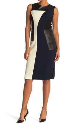 Prabal Gurung Crepe Colorblock Leather Panel Sheath Dress