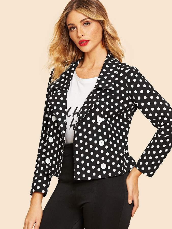 70s Double Breasted Polka Dot Coat