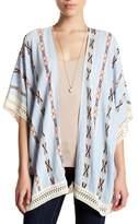 Roffe Accessories Southwestern 3/4 Length Dolman Sleeve Crochet Knit Kimono