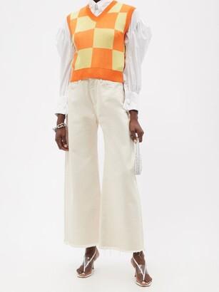 ELZINGA Checkboard-jacquard Sleeveless Sweater - Orange Multi