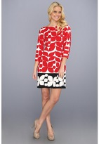 London Times Printed Ponte Shift Dress (Red) - Apparel