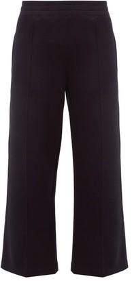 Moncler Cotton-blend Cropped Wide-leg Trousers - Black