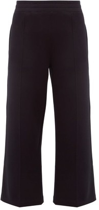 Moncler Cotton Blend Cropped Wide Leg Trousers - Womens - Black