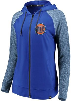 Möve Women's Fanatics Branded Blue/Heathered Blue New York Knicks Made to Static Raglan Performance Full-Zip Hoodie
