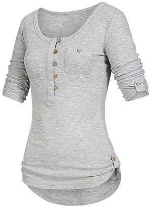 LEXUPE Women Tops Summer Comfortable Cool T-Shirts Casual Fashion Blouses Ladies Solid Long Sleeve Button Blouse Pullover Tops Shirt with Pockets(Grau XL)