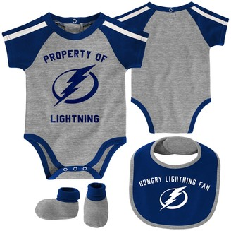 Outerstuff Newborn & Infant Gray/Blue Tampa Bay Lightning Hard at Play Bib, Booties & Bodysuit Set