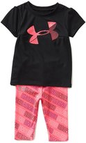 Under Armour Baby Girls 12-24 Months Big Logo Short-Sleeve Tee & Printed Capri Leggings Set