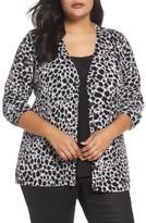 Foxcroft Plus Size Women's Maya Leopard Print Cotton Cardigan
