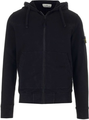 Stone Island Logo Patch Hooded Zip Sweatshirt