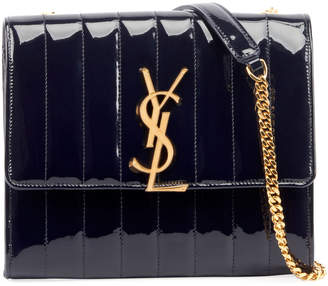 Saint Laurent Vicky Monogram North/South Quilted Patent Wallet on Chain