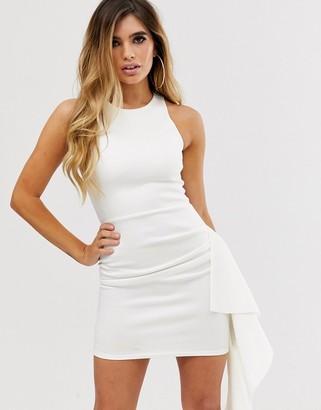 Asos Design DESIGN scuba waterfall frill mini dress-White