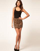 ASOS Animal Print Mini Skirt in Ponte