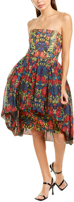 Anna Sui Mod Rosette Silk A-Line Dress