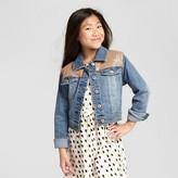 Cat & Jack Girls' Denim Jacket with Sequins Medium Wash