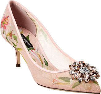 Dolce & Gabbana Lily Print Brooch Pump