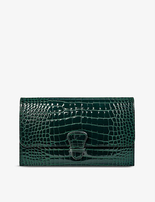 Aspinal of London Classic crocodile-embossed leather travel wallet
